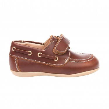 Childrens Boy Leather School Boat Shoes Velcro Rounded Toe 354 Leather, by AngelitoS