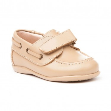 Childrens Boy Leather School Boat Shoes Velcro Rounded Toe 354 Camel, by AngelitoS
