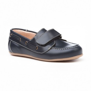 Boys Leather School Boat Shoes Velcro Rounded Toe 353 Navy, by AngelitoS