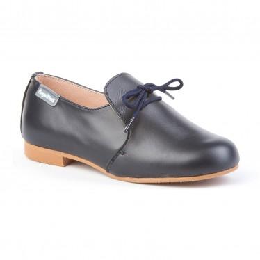Zapatos Colegiales Infantil Niño Piel Cordones 1393 Marino, de Angelitos