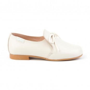 Childrens Boy Leather School Shoes Lace-up 1393 Beige, by AngelitoS