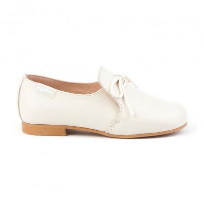 Zapatos Colegiales Infantil Niño Piel Cordones 1393 Beige, de Angelitos