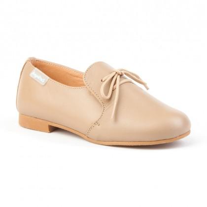 Zapatos Colegiales Infantil Niño Piel Cordones 1393 Camel, de Angelitos