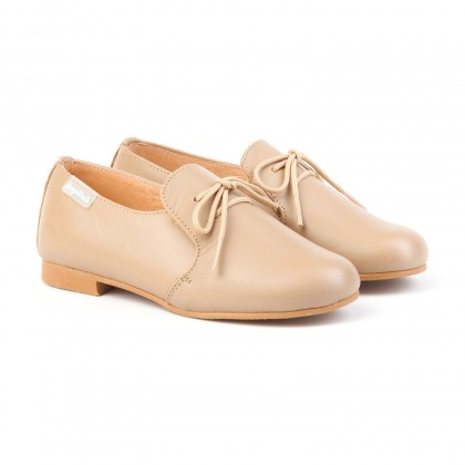 Childrens Boy Leather School Shoes Lace-up 1393 Camel, by AngelitoS