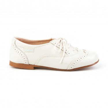 Childrens Boy Leather Oxford School Shoes Lace-up 1394 Beige, by AngelitoS