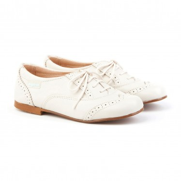 Zapatos Oxford Colegiales Infantil Niño Piel Cordones 1394 Beige, de Angelitos