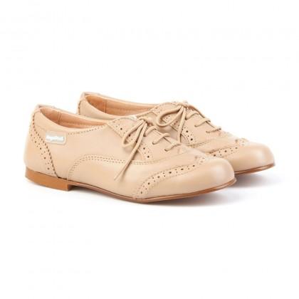 Zapatos Oxford Colegiales Infantil Niño Piel Cordones 1394 Camel, de Angelitos