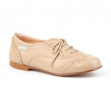 Childrens Boy Leather Oxford School Shoes Lace-up 1394 Camel, by AngelitoS
