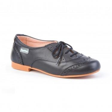 Zapatos Oxford Colegiales Infantil Niño Piel Cordones 1394 Marino, de Angelitos