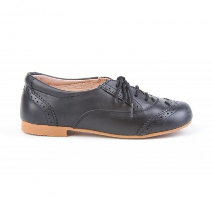 Childrens Boy Leather Oxford School Shoes Lace-up 1394 Navy, by AngelitoS