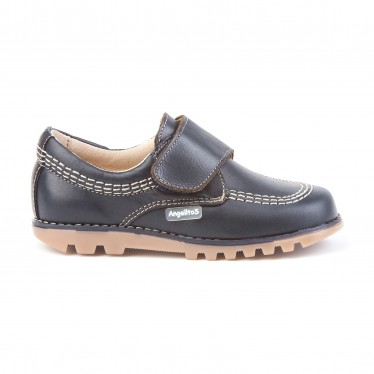 Boys Leather Derby School Shoes Velcro Rounded Toe 301 Navy, by AngelitoS