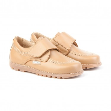 Boys Leather Derby School Shoes Velcro Rounded Toe 301 Camel, by AngelitoS